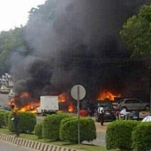 Scene of the inferno after the explosion at Emab plaza Wuse II Abuja