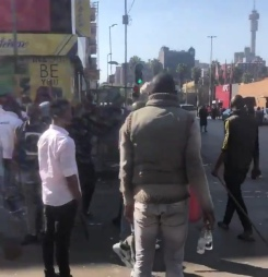 Scene this morning in the CBD of Johannesburg as shop owners plan reprisal attacks
